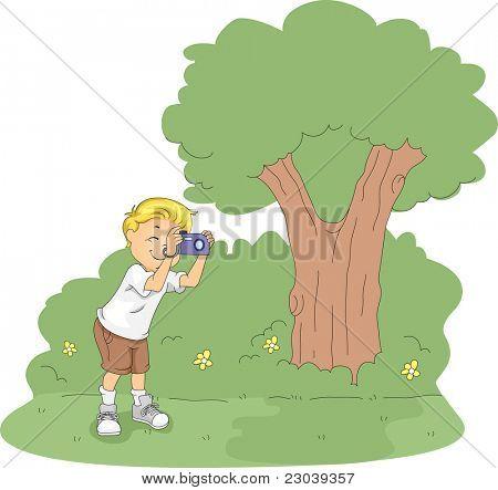 Ilustração de um garoto tirando fotos em um acampamento