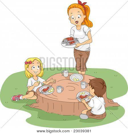Ilustração de crianças comendo fora