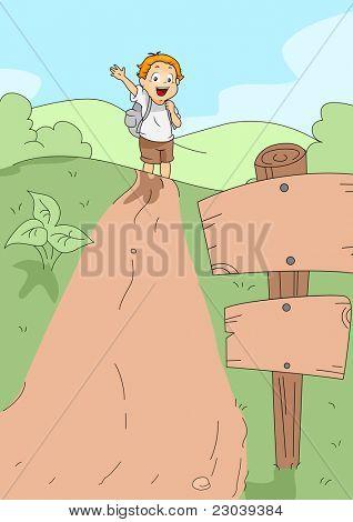 Ilustração de uma caminhada de Kid