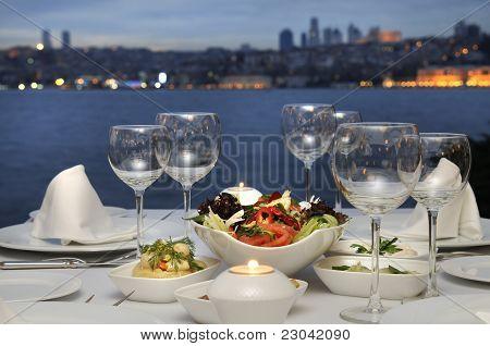 Dinner At The Bosphorus, Istanbul - Turkey (Night Shot)