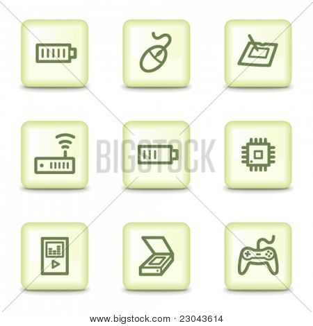 Electronics web icons set 2, salad green buttons