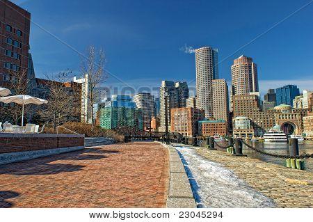 Boston Skyline On A Sunny Winter Day