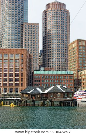 Boston Skyscrapers Above Old Fishing Shacks