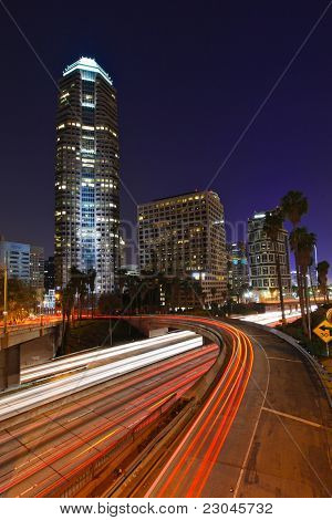 Los Angeles freeways during rush hour at sunset