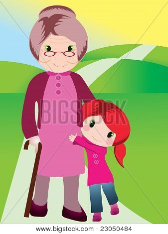 Grandmother and grandchild vector