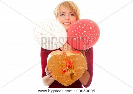 Young Woman Holds In Hands Gift Box And Balloons