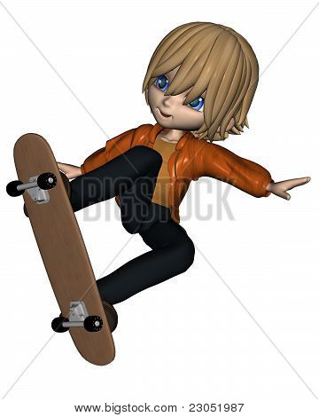 Cute Toon Skateboard Boy - 1
