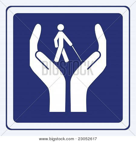 Blind care sign vector