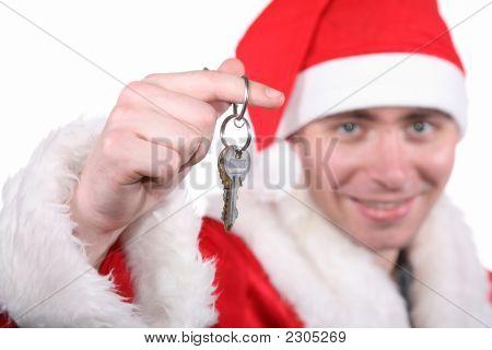 Empresário, vestido em traje de Santa