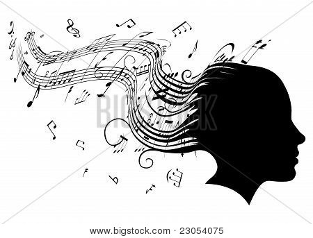 Woman Head Profile Hair Music Concept