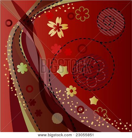 Red abstract foral background