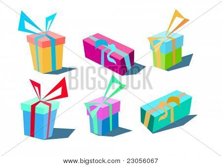 A set of stylized presents