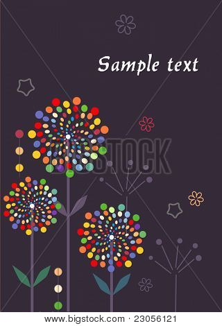 Abstract muli-colored flowers on grey background