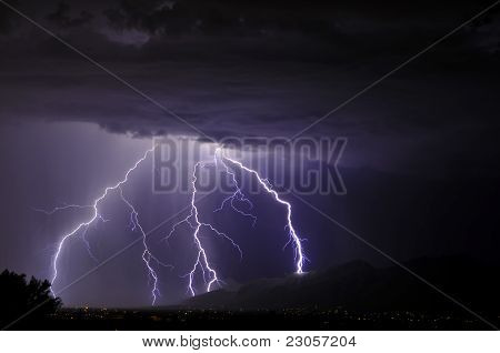 Lightning over the Catalina Mountains