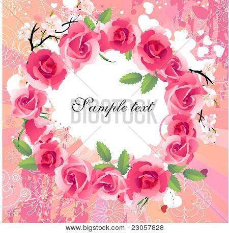 Vector summer floral wreath with roses on pink  background