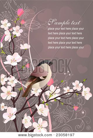 Greeting beautiful spring vector card with bird, blossom and hearts