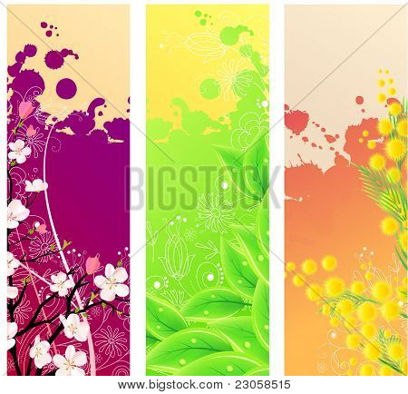 Three colorful beautiful vertical floral banners