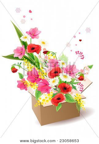 Opened box with big bunch of flowers