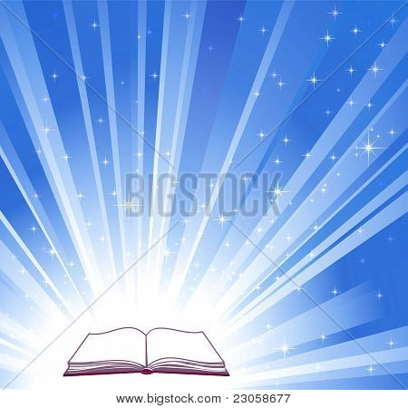 Open Book And Blue Bright Background