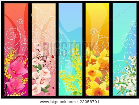 Five different colorful floral banners