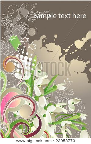 Modern  background with snowdrops with free space for your text