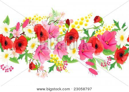 Horizontal seamless pattern made of different summer flowers