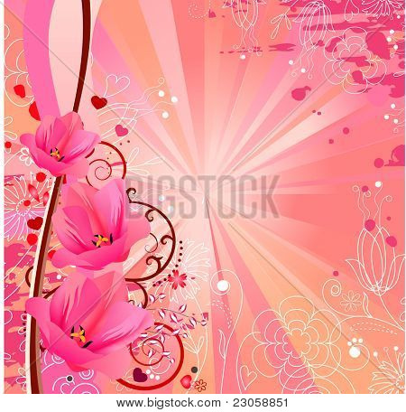 Spring romantic background with pink tulips