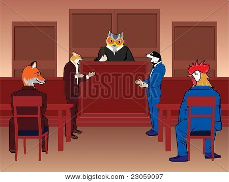 Animal courtroom concept vector