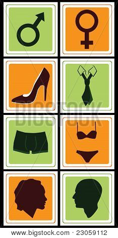 collection of male-female signs vector