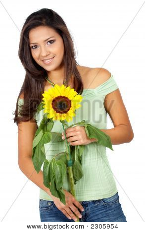 Casual Girl With A Sunflower