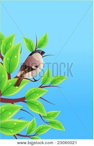 Vögelchen auf Zweig mit Blättern