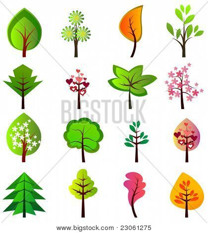 Set of different beautiful trees