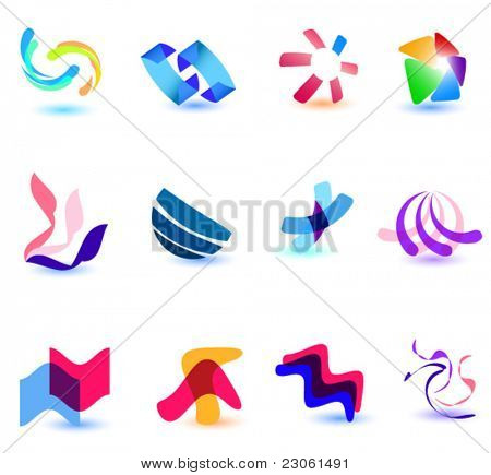 Set of different colorful symbols for your design (Part 17). Please visit my gallery to see similar.