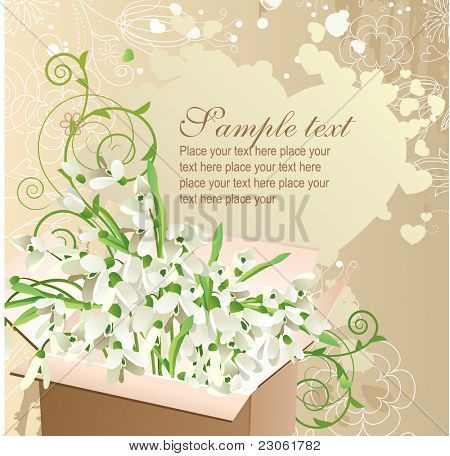 Greeting card with open box full of snowdrops