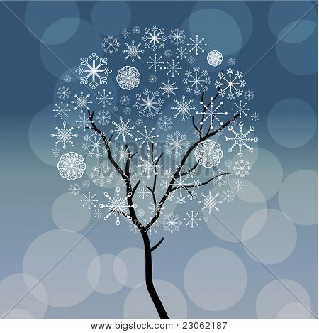 Stylized snow tree with snowflakes