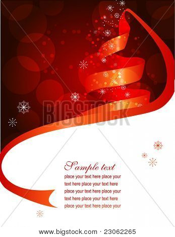 Christmas background with fir made of ribbon