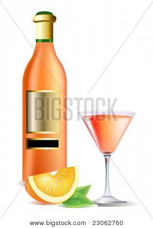 Realistic bottle on wine, orange and cocktail. Raster version. Vector version is in my gallery.
