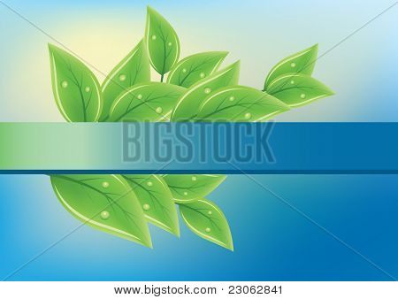 Green fresh leaves on blue background. Raster version. Vector version is in my gallery.