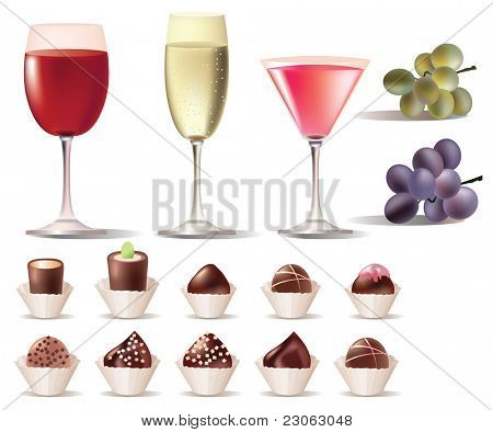 Pretty set of sweets and wine. Raster version. Vector version is in my gallery.