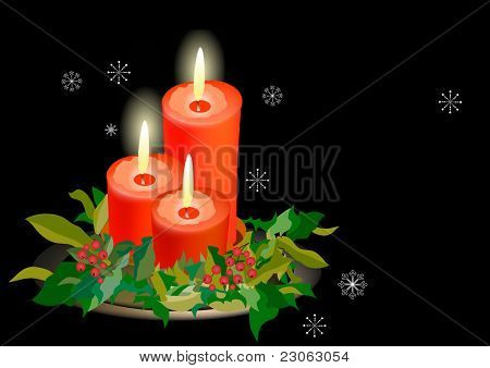 Three candles on black background and snowflakes. Raster version. Vector version is in my gallery.