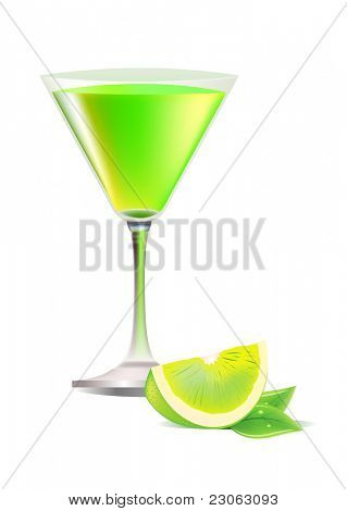 Glass of exotic cocktail. Raster version. Vector version is in my gallery.