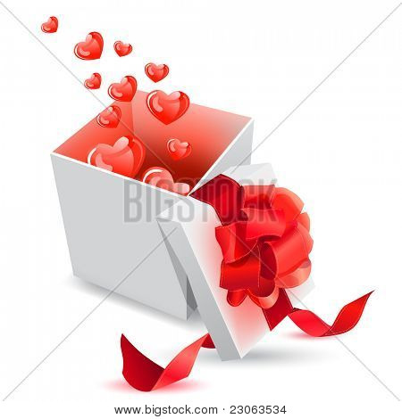 Realistic gift box with bow and hearts. Raster version. Vector version is in my gallery.