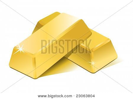 Stacked bars of gold bullion. Raster version. Vector version is in my gallery.