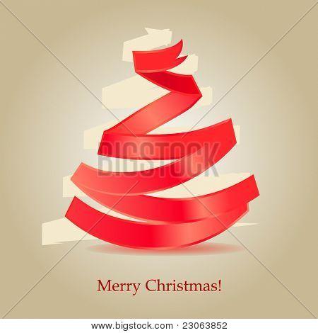 Christmas tree made of red silk ribbon