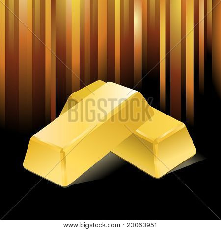Stacked bars of gold bullion. Vector version is in my gallery.