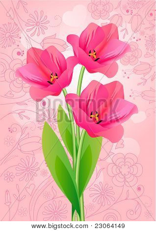 Three tulips. Raster version. Vector version is in my gallery.