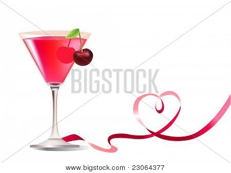 Glass of exotic cherry cocktail and ribbon. Raster version. Vector version is in my gallery.