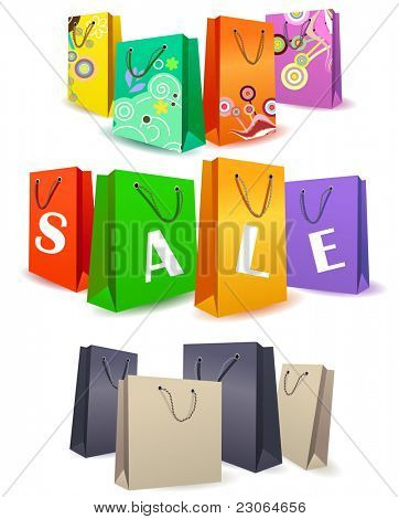 Set of different colorful shopping bags. Raster version. Vector version is in my gallery.