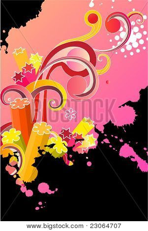 Splattered bright pink background with abstract swirls. Raster version. Vector version is in my gallery.