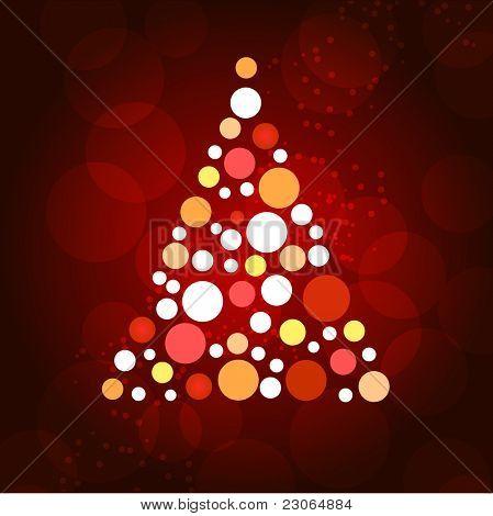 Weihnachtsbaum mit Punkten und Sternen auf rotem Grund.